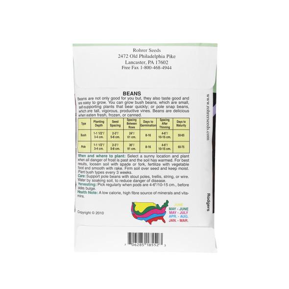 Rohrer Seeds Stringless Bush Beans, Carson Variety, 0.5 Pounds