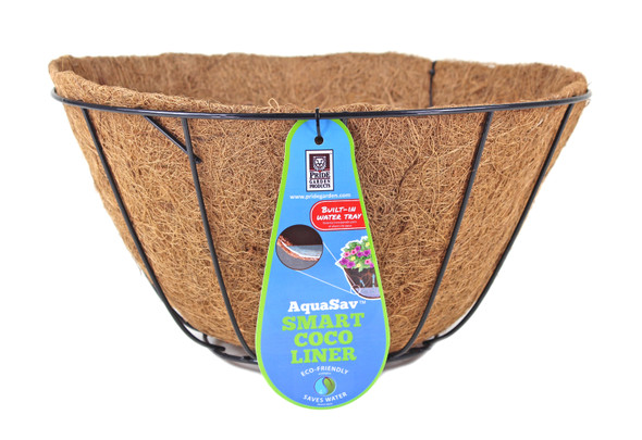 """Pride Garden Products 5114PB Grower Hanging Baskets with AquaSav Smart Coco Liner, 14"""""""