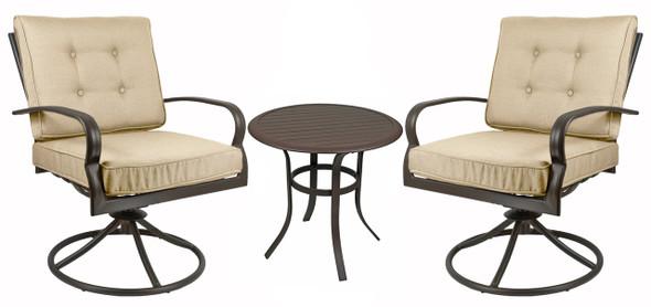Courtyard Creations Bellevue 3-Piece Swivel Chair Bistro Set - Espresso Brown