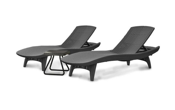 Keter (#222213) Pacific Sun Lounger - 2 Chair Dark Grey and Table Set