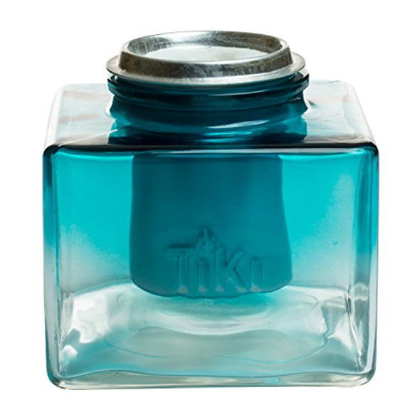 """TIKI Brand 5"""" Clean Burn Glass Ombre Ice Table Torch, Teal"""