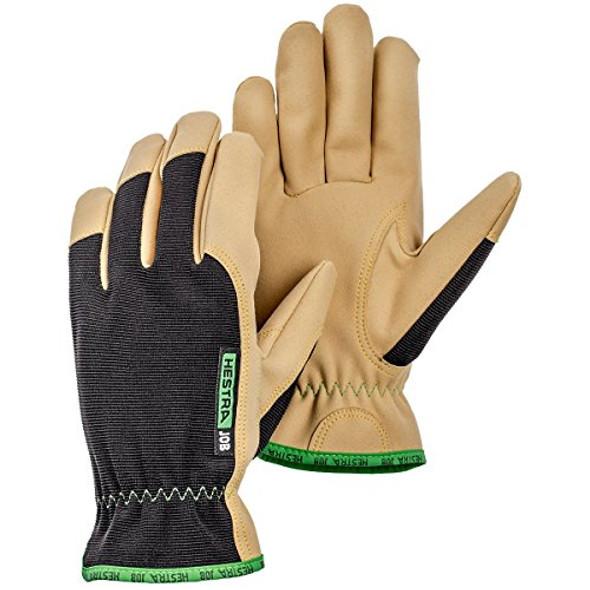 Hestra Work Gloves: Multi-Use Kobalt Leather Gloves, Black/Tan,  Size 12
