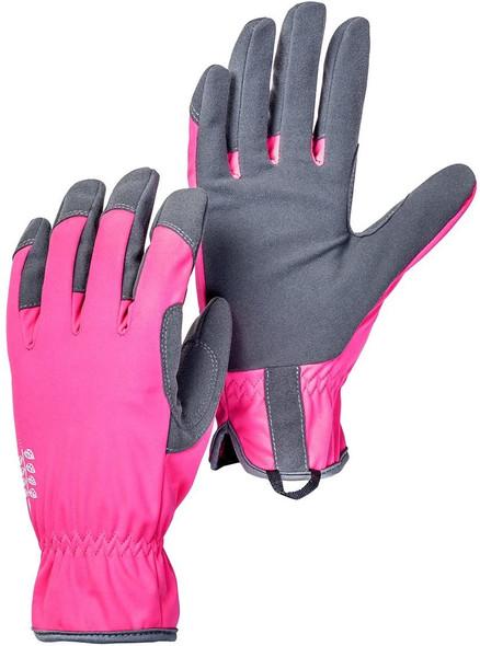 Hestra Garden Gloves: Womens Flora Outdoor Work Gloves, Fuschia/Grey, Size 6