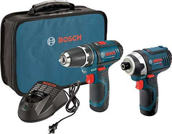 Bosch Power Tools 12-Volt Cordless Tool Set with 2 Batteries, Charger and Case
