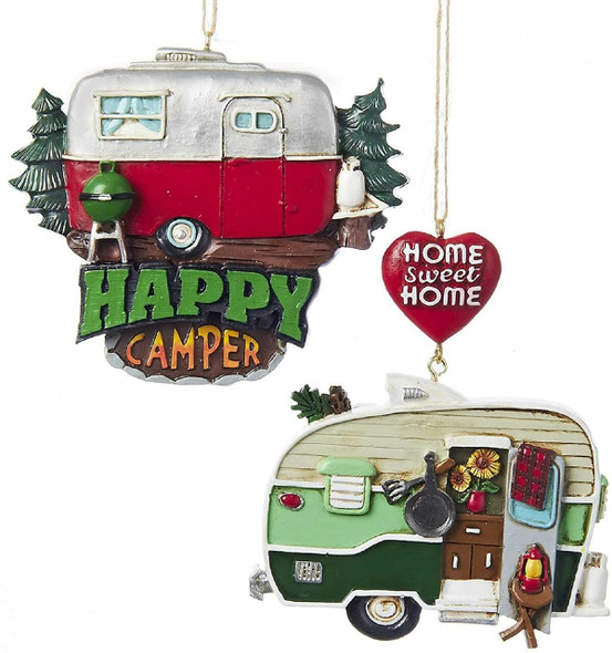 """Kurt Adler Painted Resin """"Home Sweet Home"""" & """"Happy Camper"""" Ornaments, Assorted, Pack of 2"""