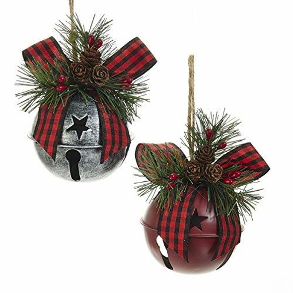 "Kurt Adler Red & Silver Metal Bell Ornament, 5.3""- Set of 2 Assorted"