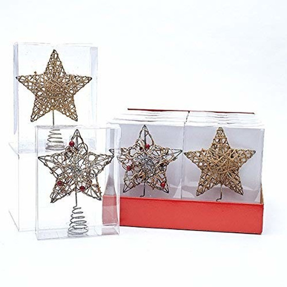 "Kurt Adler Metal Star Tree Topper, 6"" (set of 2)"
