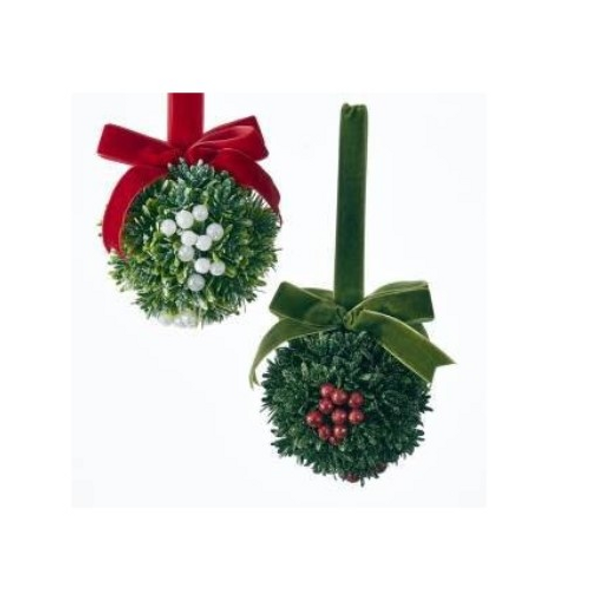 Kurt Adler Christmas Kisses Mistletoe Ball - Set of 2 - ONE OF EACH BALL SHOWN