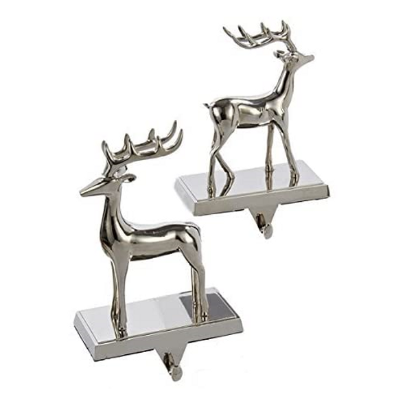 Metal Reindeer Stocking Holder, Set of 2