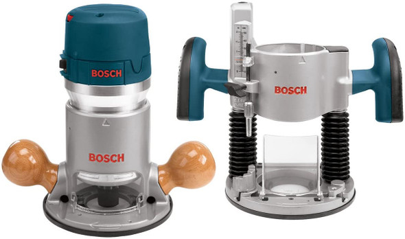 Bosch 1617EVSPK Wood Router Tool Combo Kit - 2.25 Horsepower Plunge Router & Fixed Base Router Kit
