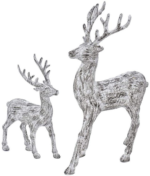 Kurt S. Adler Artificial Bark Standing White Deer Tabletop, Set of 2