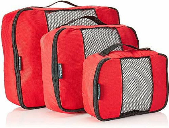 TravelWise Luggage Packing Organization Cubes 3 Pack, Red