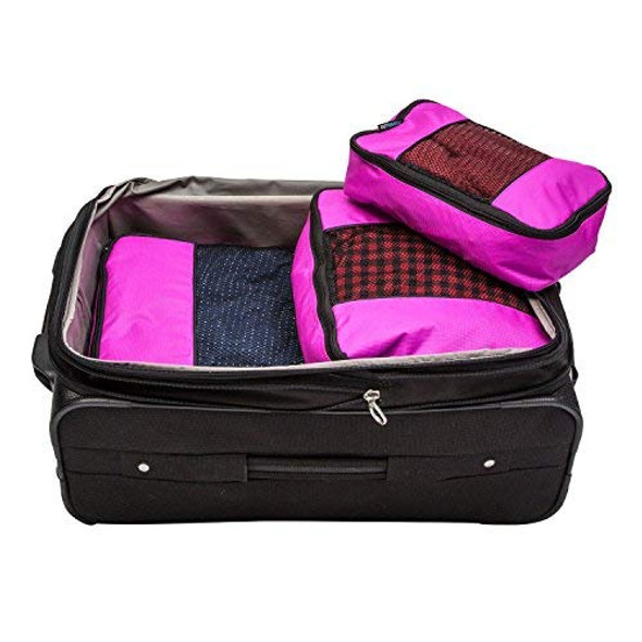 TravelWise Luggage Packing Organization Cubes 3 Pack, Pink