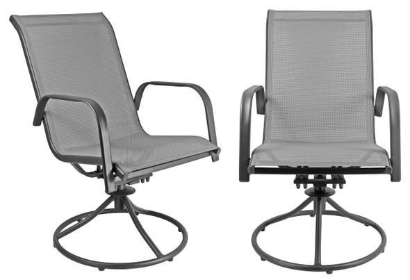 Garden Elements Sienna Metal Patio Chair Swivel Rockers, Gray (Set of 2)