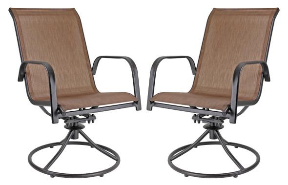 Garden Elements Sienna Swivel Rocker Metal Patio Chair, Brown Espresso Finish (Pack of 2)