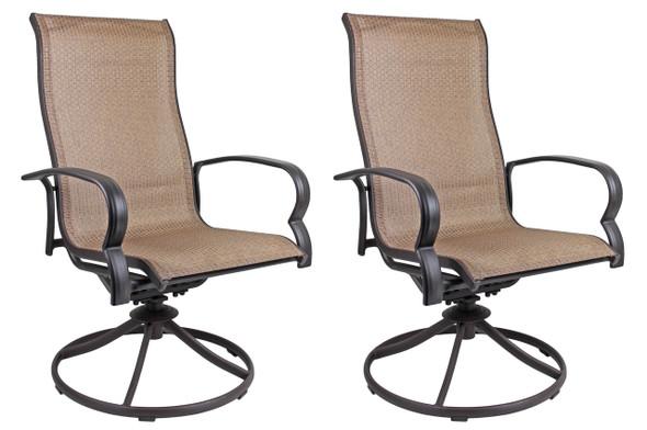 Garden Elements Bellevue Sling Swivel Rocker Patio Chair, Brown (Pack of 2)