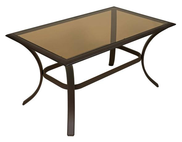 Garden Elements Bellevue Patio Glass-Top Coffee Table, Espresso Aluminum, 24x40-In.