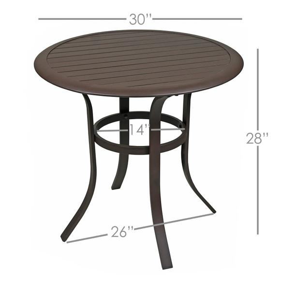 Garden Elements Bellevue Aluminum Slat-Top Bistro Table, 30-In.