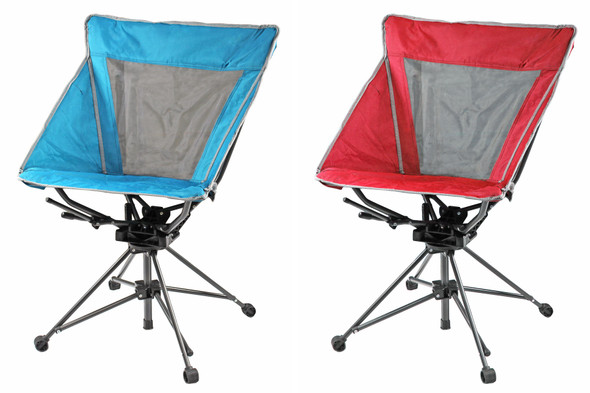 Four Seasons Courtyard Mesh Tall Back Swivel Chair, 1 Red & 1 Teal (Pack of 2)