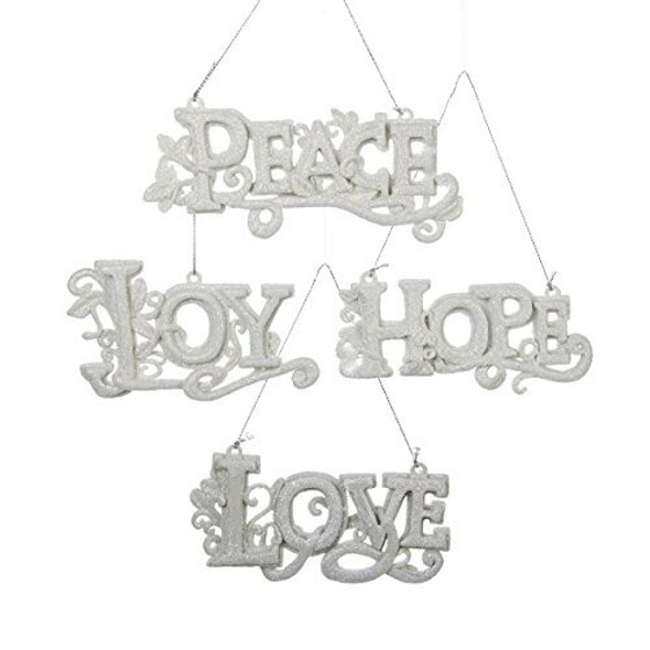 """White """"love"""", """"hope"""", """"joy"""" And """"peace"""" Word Sign Ornament Set Of 4"""