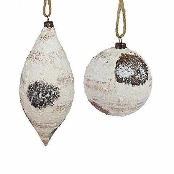 Kurt Adler Brown and White Ball and Teardrop Ornaments (Pack of 2)
