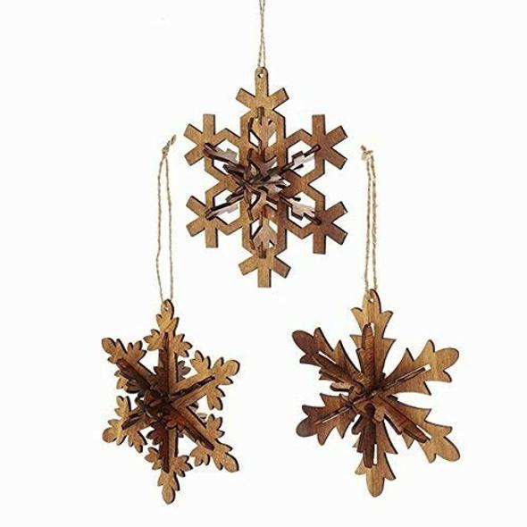 "Kurt Adler Wooden Brown Snowflake Ornament Assorted, 5.5"" (Set of 3)"