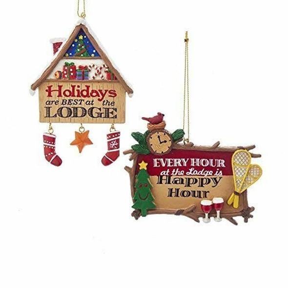 "Kurt Adler 4.5"" Happy Hour & Holidays At Lodge, Set of 2 Assorted"