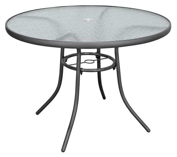 Rio Brands Sienna Metal Gray Round Patio Glass Top Table, 40-Inch