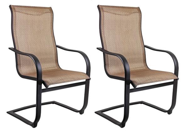 Garden Elements Outdoor Bellevue Metal Spring Dining Patio Chair, Brown (Pack of 2)