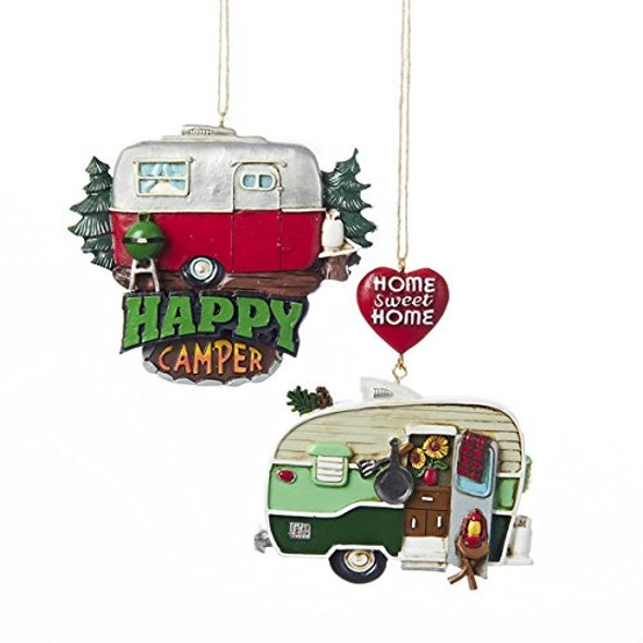 "Kurt Adler ""Home Sweet Home"" & ""Happy Camper"" Ornaments, Assorted, Pack of 2"