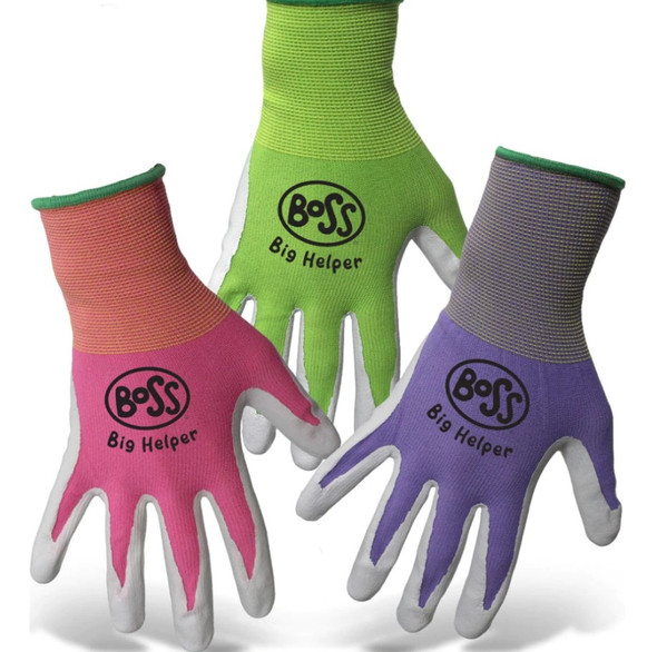 Boss Kid's Big Helper Nylon w/ Nitrile Coated Palm/Fingers Gloves (Pack of 3)