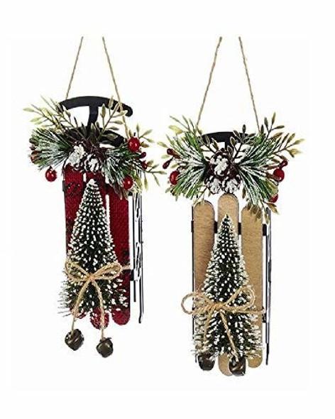Kurt Adler Sled w/ Christmas Tree Ornaments, 6.25ƒ?, Red & Tan (Set of 2)