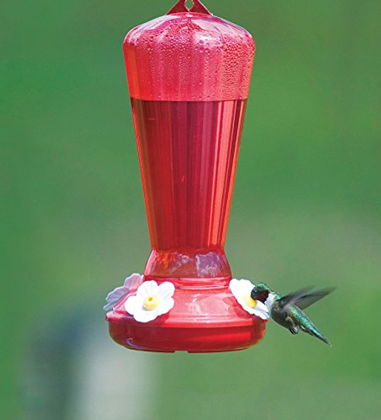 More Birds Hummingbird Feeder, Plastic Hummingbird Feeders, Red, 4 Feeding Stations, 25-Ounce Nectar Capacity, Hollyhock Pink