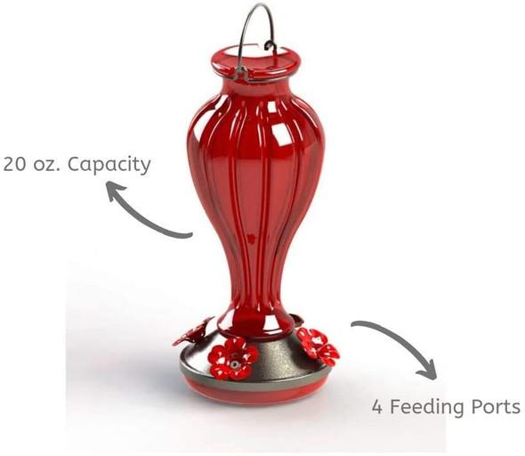 More Birds Hummingbird Feeder, Glass Hummingbird Feeders, Red, 4 Feeding Stations, 20-Ounce Nectar Capacity, Blossom