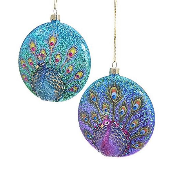 "Kurt Adler Flat Peacock Ornaments, 4.25"" (Set of 2)"