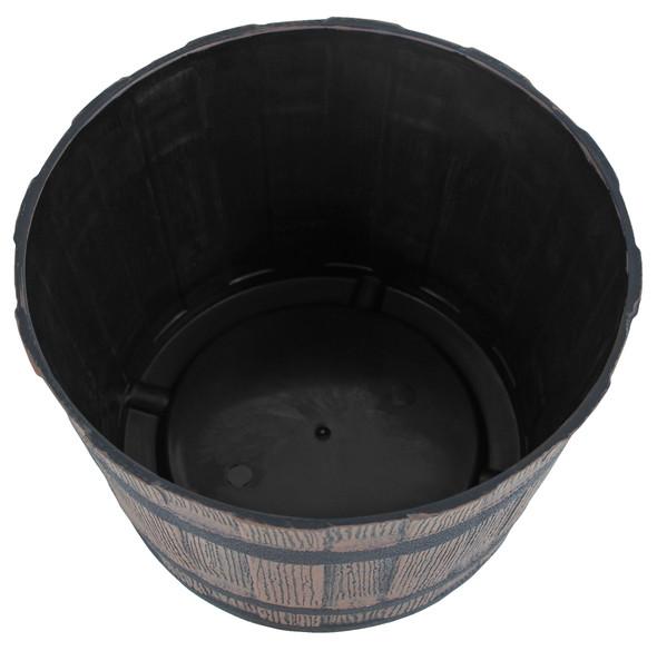 """Garden Elements Mini Whiskey Barrel Plastic Planter, Dark Oak, 10"""""""