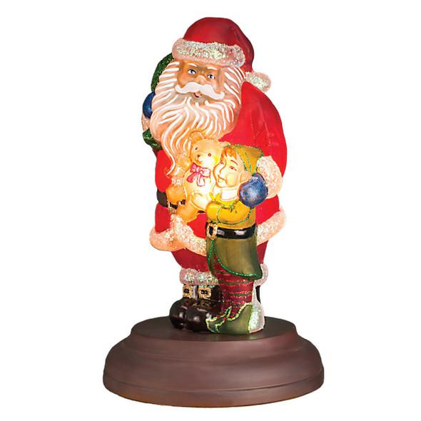 "Old World Christmas Santa's Bright-Eyed Buddy Glass Night Light Figurine, 10.5"""