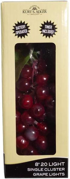 20-Light Battery Operated Warm White Single Burgundy Grape Cluster Light Set