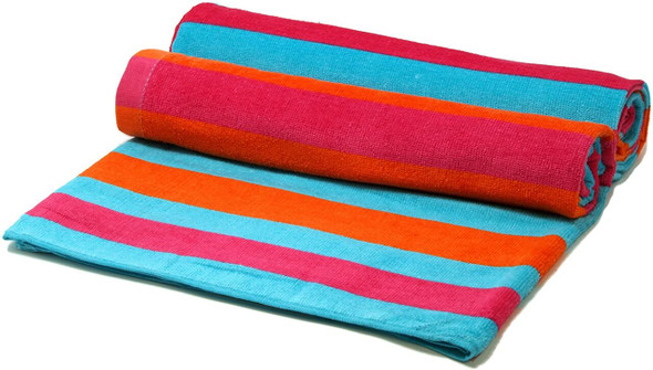 Silver One 100% Cotton Beach Towels (Pink, Orange, Blue Stripes) Pack of 2