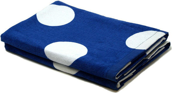 Silver One 100% Cotton Patterned Beach Towels (Blue, White Polka Dot, Pack of 2)