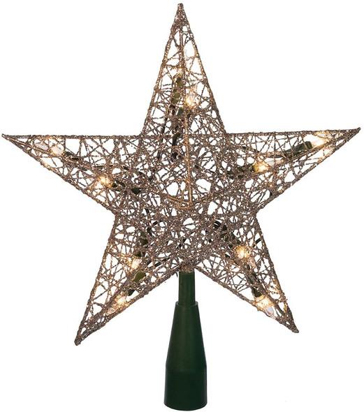 """Kurt Adler (#UL0131S) Silver Wire Star Tree Topper w/ 10 Lights, 9"""""""