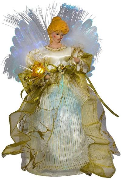 """Kurt Adler Fiber-Optic Ivory/Gold Angel Color-Changing LED Lighted Treetop, 12"""""""