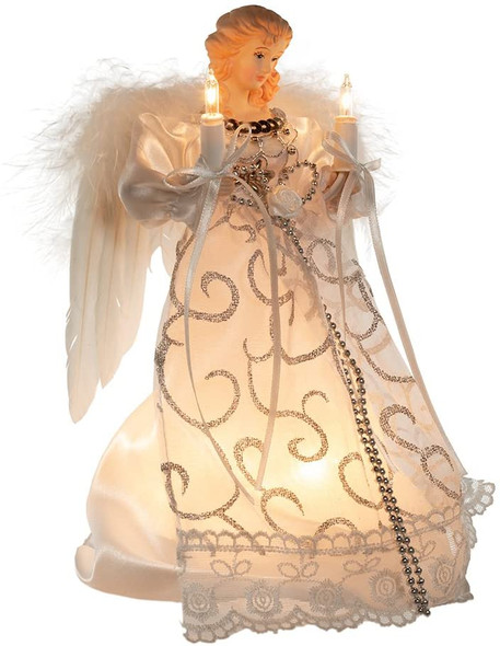 "Kurt Adler (#UL2205) White and Silver Angel Lighted Treetop, 9"""