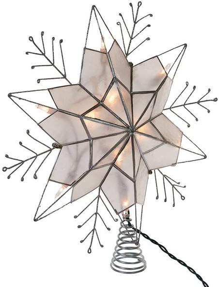 """Kurt Adler Nickle Plated 6-Point Silver Glitter Capiz Star Tree Topper, 14"""""""