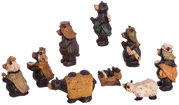 """Kurt Adler Resin Nativity Bear, Set of 9, 4"""""""