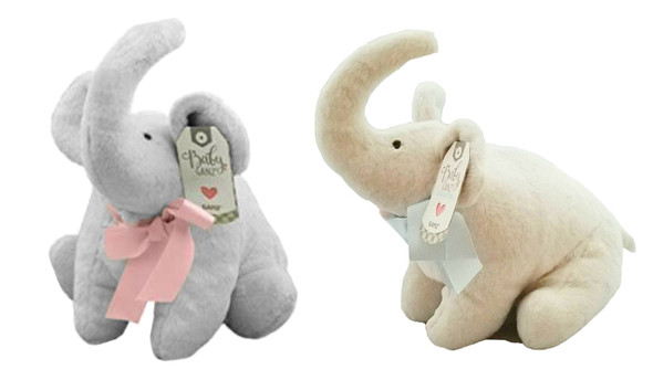"""Ganz Baby Collection Sweet Elephant Plush Toy, 11"""" Pink & Blue Bow (Set of 2)"""