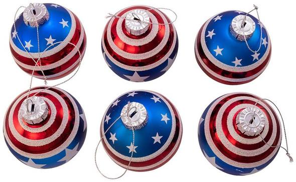 Kurt S. Adler Kurt Adler 80MM Red, White and Blue Stars and Stripes Glass Ball, 6 Piece Box Ornament