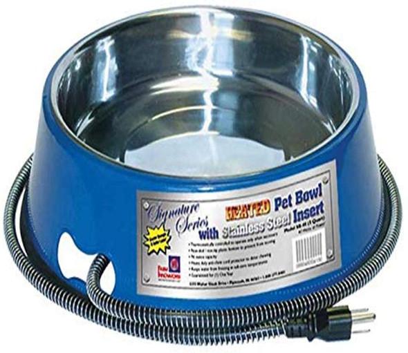 Farm Innovators Heated Pet Bowl w/ Stainless Steel Insert, Blue,  40-watt, 3 qt