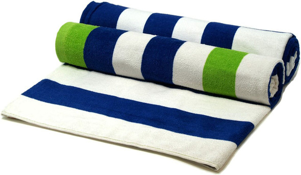 Silver One 100% Cotton Beach Towels (Blue, Green, White Striped) Pack of 2