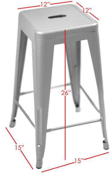 """Sunjoy Group (#S-DNC1267PST) Stackable Metal Barstool, Silver, 26"""" Damaged (Pack of 2)"""